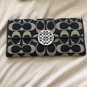 Authentic coach wallet black and gray fabric